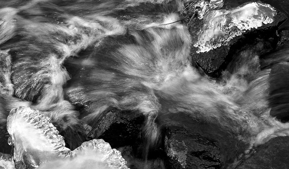 Rushing water and ice