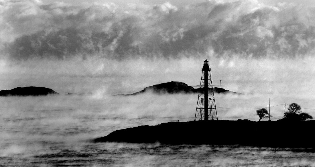 Marlbehead Light in sea smoke