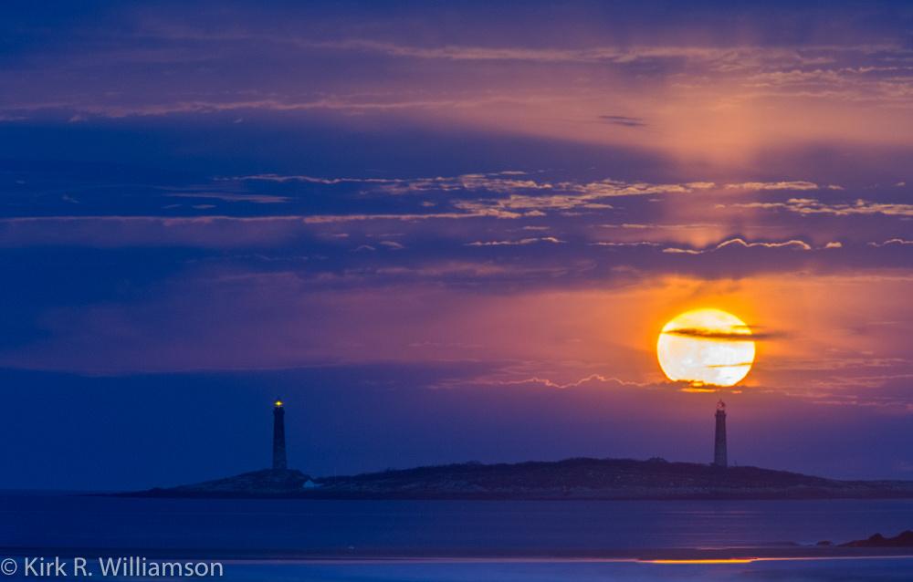 Christmas Moon rises over Thacher's Island